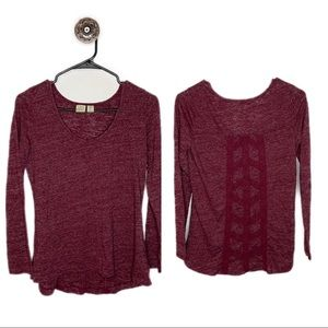 Lucy & Laurel Anthropologie Red Long Sleeve Shirt